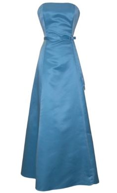 50s Strapless Satin Long Gown Bridesmaid Prom Dress Formal Junior Plus Size, Large, Aqua