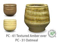 Oatmeal is a toasty, light yellow glaze that is relatively opaque and breaks clear over textured surfaces. This glaze is great for layering with other Potters Choice glazes.  Due to the powdered nature of the materials involved with the dry-mix dipping buckets of this product, their respective health information and labels differ from the brushing glazes.