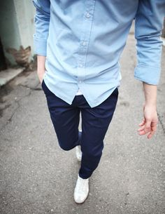 Pale Blue Oxford / Navy Chino / GATS