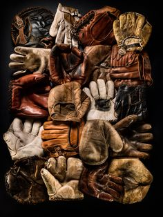 Vintage Glove Composition 1, Fine Art Print by Timothy Hogan. Perfect for the man cave, bachelor pad or even the living room. This graphic composition of vintage baseball gloves is a feast for the eye