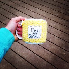 Rise and shine cup cozy crochet mug cozy by mandag433 on Etsy