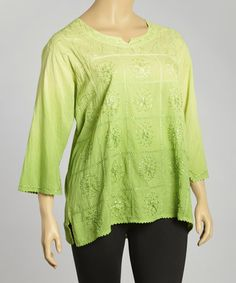 Loving this Lime Ombre Scoop Neck Tunic - Plus on #zulily! #zulilyfinds