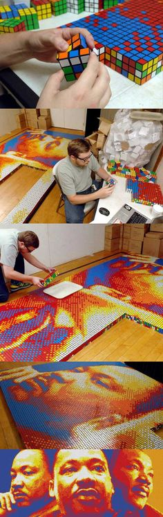 "Designer Pete Fecteau constructed a huge Martin Luther King Jr. portrait called ""Dream Big""using 4,242 officially licensed Rubik's Cubes. Measuring 5.8m x 2.6m x 5.7cm and weighing 454kg, this artistic endeavor was possible due to Kickstarter.com, where the artist raised the necessary money for this project."