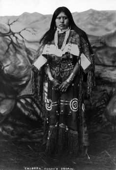 Ouray was a Ute leader. His only son was kidnapped by some members of the Sioux tribe and then supposedly sold to Southern Arapahos. Her dress is Southern Ute too. Also, this is his sister, Shawsheen, not his wife Chepita.