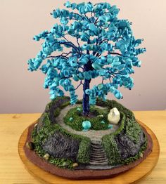 Turquoise Temple Tree Sculpture by MarilynsTrees on Etsy, $315.00