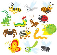 Funny Cartoon Insects vector set 13