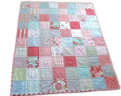 Baby Quilt Modern Quilt Crib Quilt Girls Quilt by PlatoSquirrel, $104.00
