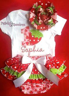 First birthday strawberry onesie ruffle by pigtailsandgumdrops, $58.00