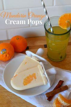 Mandarin Orange Cream Pops - A Crafty Spoonful Yummy Treats, Delicious Desserts, Sweet Treats, Dessert Recipes, Yummy Food, Chef Recipes, Healthy Desserts, Frozen Desserts, Pallets