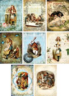 Vintage inspired Alice in Wonderland small note cards tags ATC altered art set 8