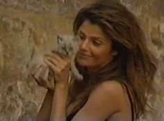 Helena and the kitten behind the scenes of the... - Hell Yeah, Helena Christensen!