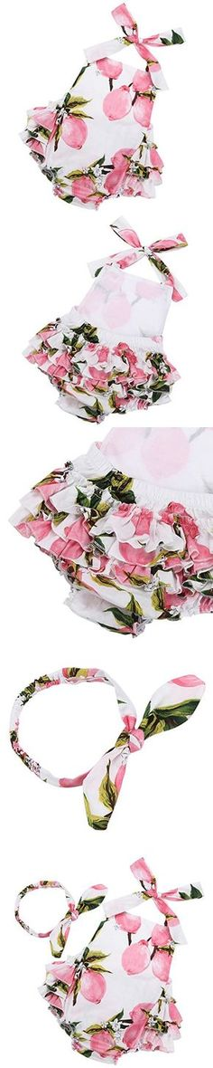 Fubin Baby Girl's Floral Print Ruffles Romper Summer Clothes with Headband 13-24 months pink lemon