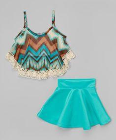 Love this Mint Fringe Tank & Skirt - Girls by Maya Fashion on #zulily! #zulilyfinds