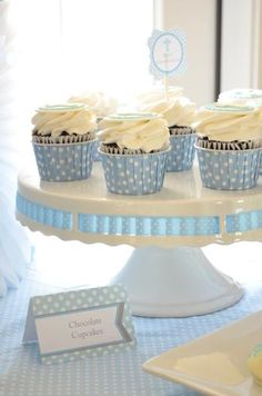 """Photo 3 of Baby Blue and Silver (Grey) / Baptism """"First Communion"""" Baptism Party, Boy Baptism, Christening, Baptism Ideas, Boys First Communion, First Communion Cakes, Mesa Dulces Baby Shower, Ideas Bautismo, Baptism Cookies"""