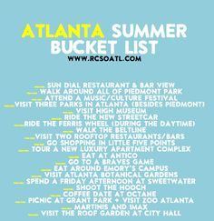 Atlanta summer bucket list! Doing all of these this summer, so fun! #ATL #FILA
