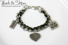 Support the Troops- Army Wife Charm Bracelet with Green and Black Knotted Ribbon