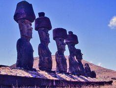 Moai with their pukao