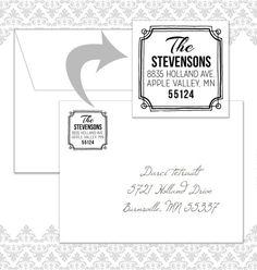 Wooden Square Return Address Stamp by Spilling Beans