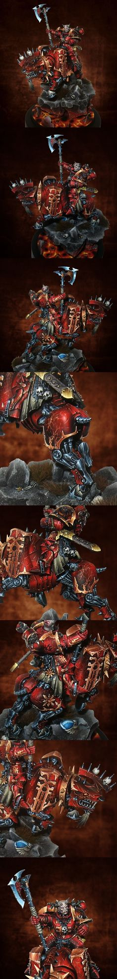 Khorne Lord on Juggernaught. Dark background