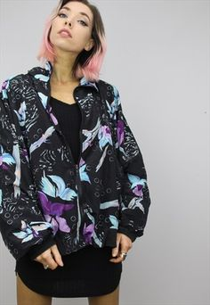 Vintage+80s/90s+Oversized+Patterned+Shell+Windbreaker+Jacket