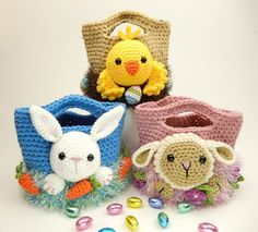 Fun Easter Basket Crochet Patterns - Free & Paid - Easter Treat Bags, Bunny, Chick and Lamb by Moji-Moji Design