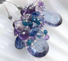 Blue quartz amethyst earrings sterling silver tanzanite chalcedony periwinkle violet beaded cluster dangle mermaid gemstone jewelry -Night- via Etsy