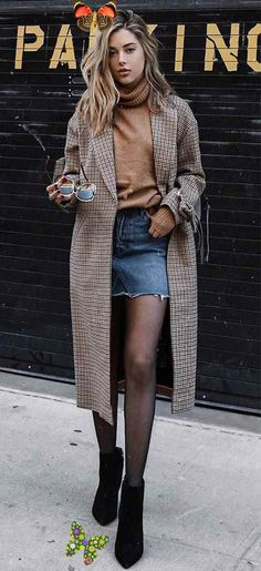 53 looks de inverno para testar esta temporada  <br> Winter Outfits, Classy Fall Outfits, Edgy Outfits, Mode Outfits, Denim Outfits, Spring Outfits, Winter Looks, Elegantes Outfit, Fashion Week 2018