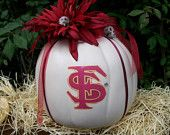 TOO CUTE! Thinking this will be out in front of our house this year. FSU pumpkin