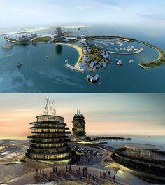 O Real Madrid está a investir num complexo turístico na ilha Ras al-Khaimah nos Emirados Árabes Unidos. Aqui fica uma ideia do que que estará pronto em 2015.