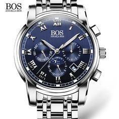 ANGELA BOS Sub Dial Work Waterproof Luminous Mens Watches Top Brand Luxury 2016 Men's Watches Quartz-watch Wrist Watches For Men WOW  #shop #beauty #Woman's fashion #Products #Watch