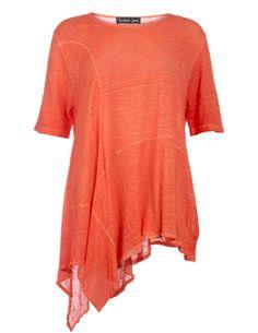 Barbara Speer Zipfeliges Leinenshirt in Orange / Wash-Out
