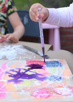 Salt Painting Collage - Awesome process art activity for kids