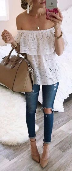 off the shoulder + rips
