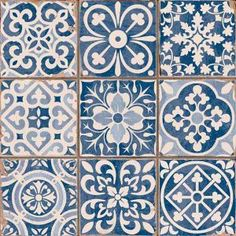 Azulejos Portugueses click now for info. Tile Patterns, Textures Patterns, Print Patterns, Tile Design, Pattern Design, Deco Design, Blue Tiles, White Tiles, Wall And Floor Tiles