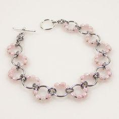 Pale Pink Wave Bracelet, Bracelet de perles de graine, graine perle bijoux, bijoux rose Pastel