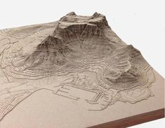 Exaggerated Relief Map of Table Mountain, Cape Town - laser cut tactile map by Nikki Onderstall Table Mountain Cape Town, Rpg Map, Geography Map, Landscape Model, Cape Town South Africa, Fantasy Map, Topographic Map, Environment Concept Art, 3d Prints