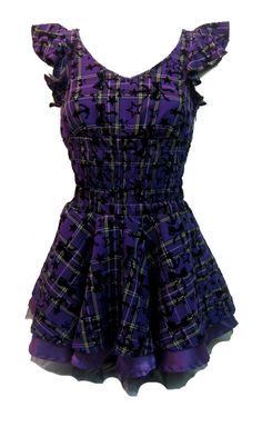 Soo Cute! H & R London Tartan Dress Purple | Gothic Clothing | Emo clothing | Alternative clothing | Punk clothing - Chaotic Clothing
