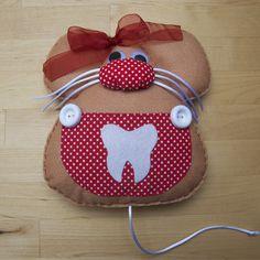 Globers Ratón guardadientes de fieltro para meter los dientes de los niños y esperar al ratoncito pérez. Rojo. Super regalos. Save teeth red felt mouse. kids. Super gifts.