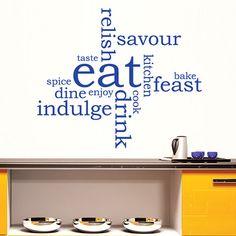 Eat Word Cloud - Kitchen Wall Sticker Word Montage Vinyl Decal Transfer Quote Decoration Dining