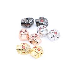 2016 New Fashion Skull Spacer Beads for Necklace &Bracelets Mosaic CZ Rhinestone Crystal Beads Copper DIY Jewelry Making