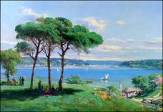 hoca ali rıza ile ilgili görsel sonucu House Landscape, Landscape Photos, Landscape Paintings, Paradise Flowers, Turkey Art, Creative Colour, Art Studies, House Painting, Istanbul