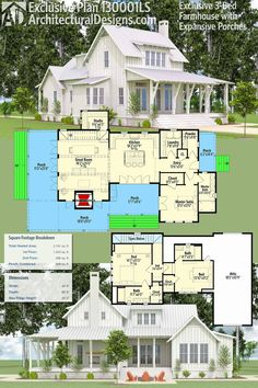 Architectural Designs Exclusive Farmhouse Plan 130001LLS has porches on 3 sides. Inside, you get 3 bedrooms - the master on the main floor and two upstairs - and over 2,100 square feet of heated living space. Ready when you are. Where do YOU want to build?