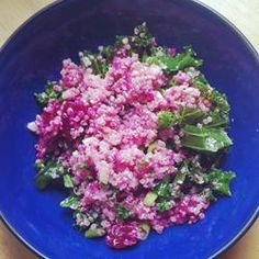 Quinoa, Beet, and Arugula Salad Make without the cheese, cut back on the oil, and add slivered or chopped almonds.