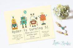Robot Birthday Invitation Robot Clipart, Thank You Notes, Christening, Birthday Invitations, Envelope, Birthdays, Clip Art, Christmas Ornaments, Holiday Decor
