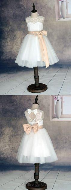 White Flower Girl Dress Lace, Scoop Neck Flower Girl Dresses Ankle-length,  Tulle Junior Bridesmaid Dresses Cheap