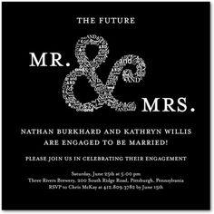 Signature White Engagement Party Invitations Subtle Finesse  - Front : Black