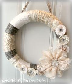 Shabby Chic Yarn Wreath in Creams with Lace Flowers. WreathsByEmmaRuth, via Etsy.