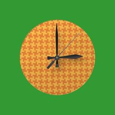 Round Wall Clock, Orange Dogstooth Check