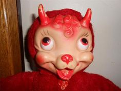 1950s Vtg Rubber Face Stuffed Devil Goat Animal Rushton Gund