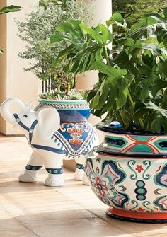 For an impressive burst of color in your sunroom, garden or on your patio, opt for this collection of grand-in-scale urns and vessels. Ornate worldly prints and patterns have been handpainted on each all-weather constructed shell.